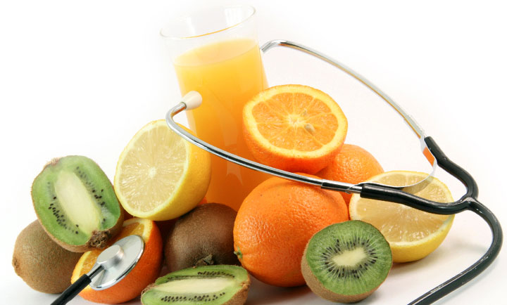 fruits and juice with stethascope