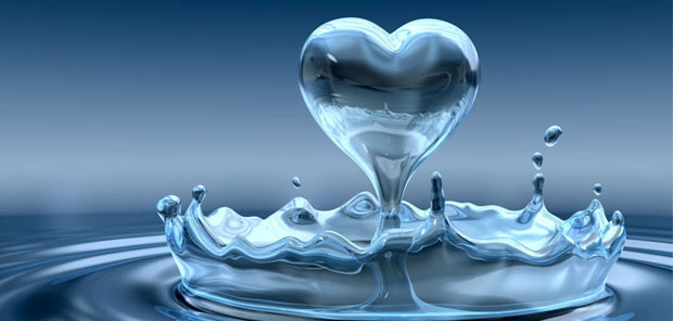 heart shaped water