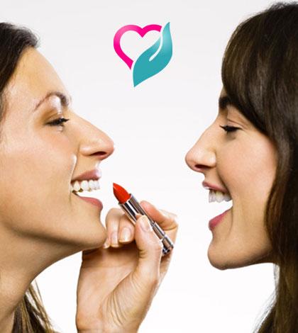 sharing lipstick