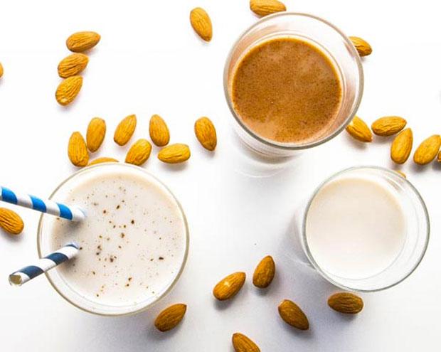 making almond milk