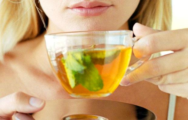 drinking basil tea