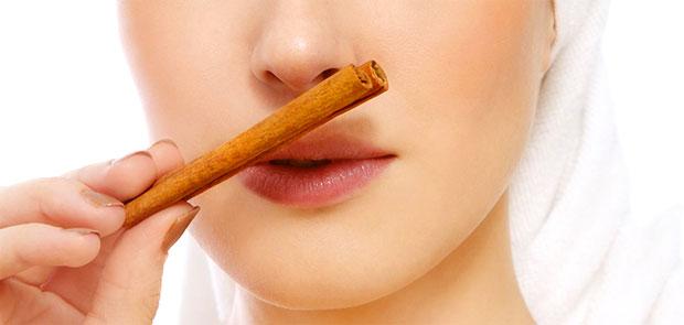 woman smelling cinnamon