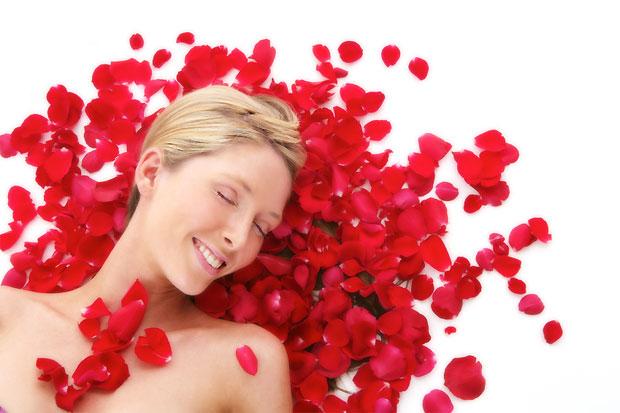 girl rose petals