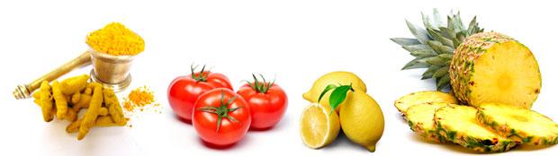 turmeric tomato lemon pineapple