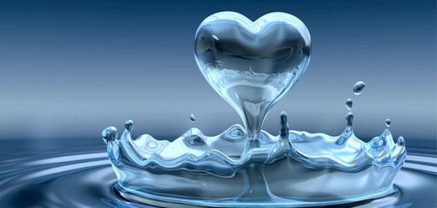 heart shaped water
