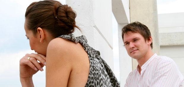 man looking women