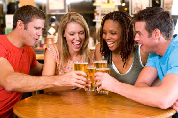 happy drinking beer