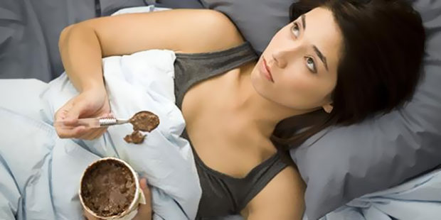 eating very sad in bed