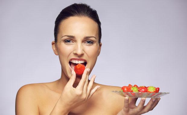 eating strawberry