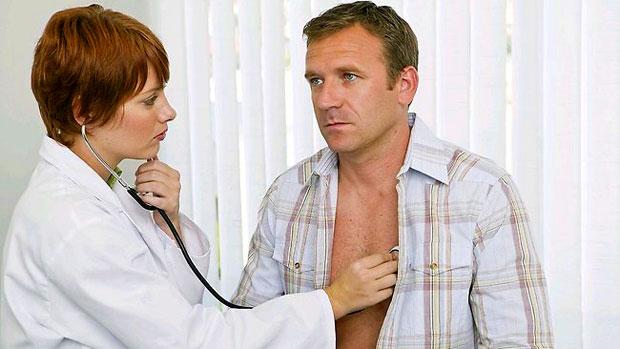 man having checkup