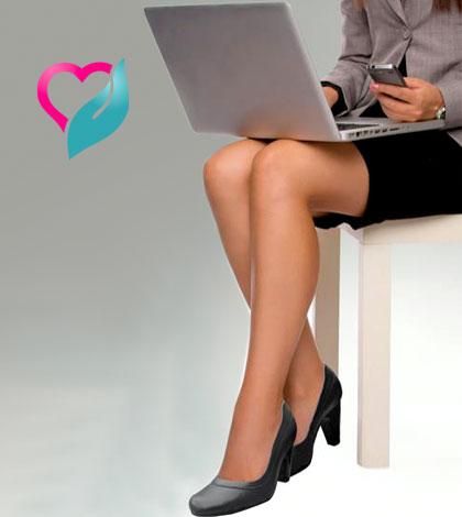 laptop on lap of woman