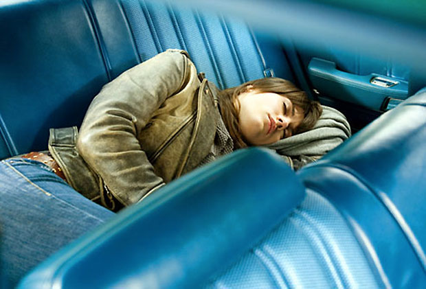 sleeping inside car