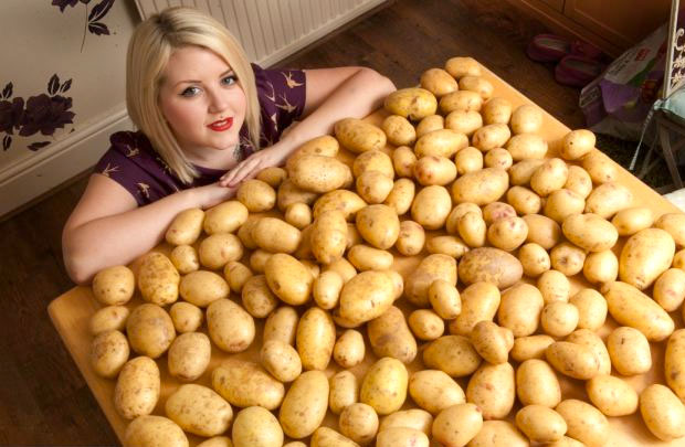woman with potatoes
