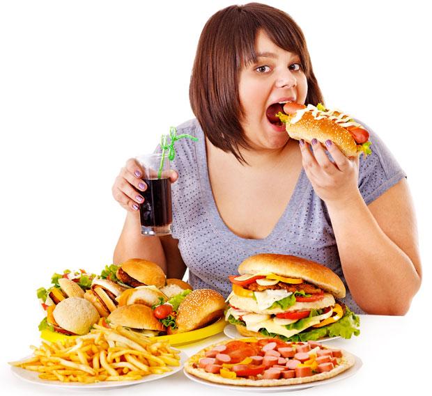 fat eating junk food