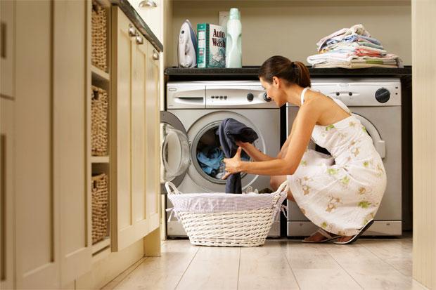woman drying cloths