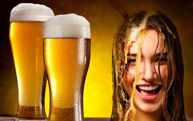 beer hair rinsing